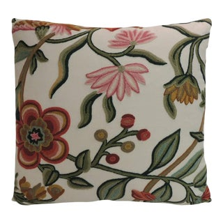 Vintage Crewel Work Floral Decorative Colorful Pillow