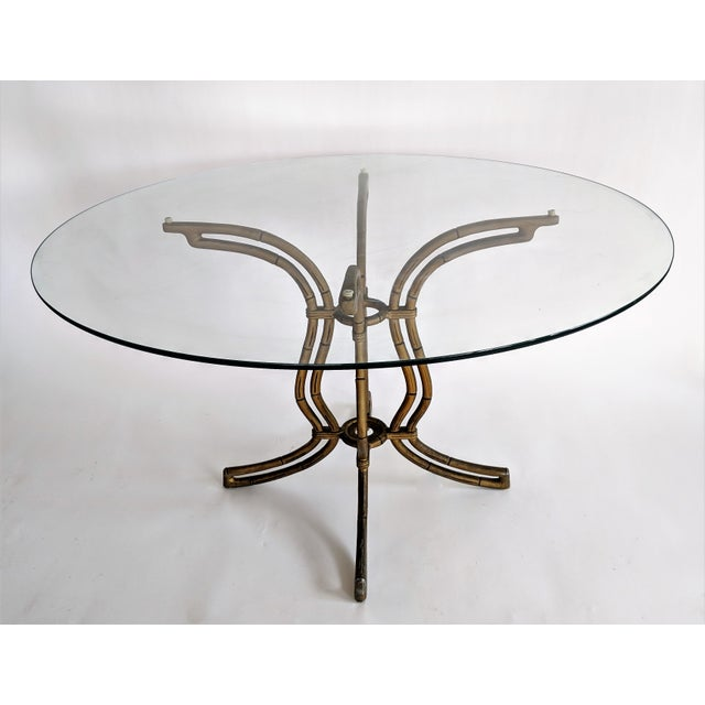 1960s Kessler Industries Mid-Century Modern Cast Aluminum Faux Bamboo Dining Set For Sale - Image 5 of 11