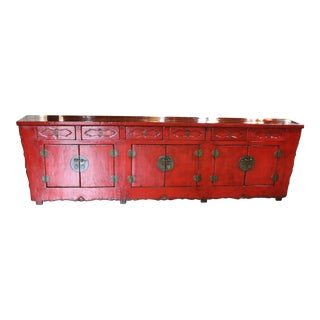 Late 19th Century Red Lacquered Sideboard For Sale