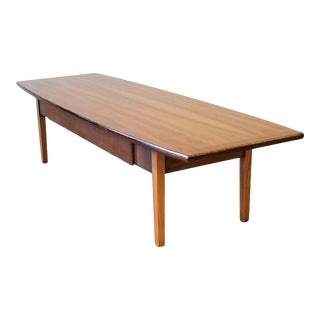 Stanley Teak Surfboard Coffee Table With Drawer For Sale