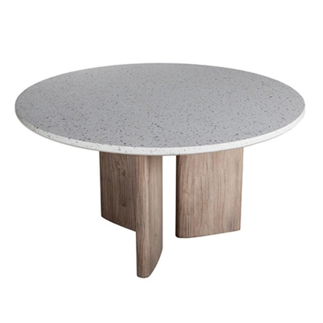 Light toned terrazzo round top dining table on unique modern design white wash acacia wood base. Beautiful contemporary...