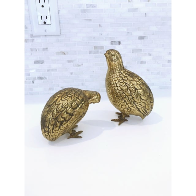Mid-Century Japanese Brass Quails - A Pair - Image 2 of 6
