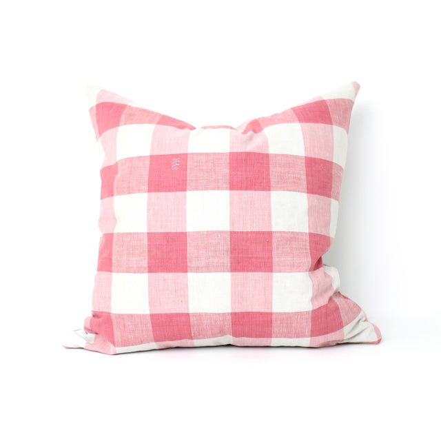 Antique French Vichey Check Pillow - Image 2 of 3