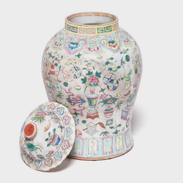 1920s Chinese Famille Rose Porcelain Baluster Jar For Sale - Image 5 of 7