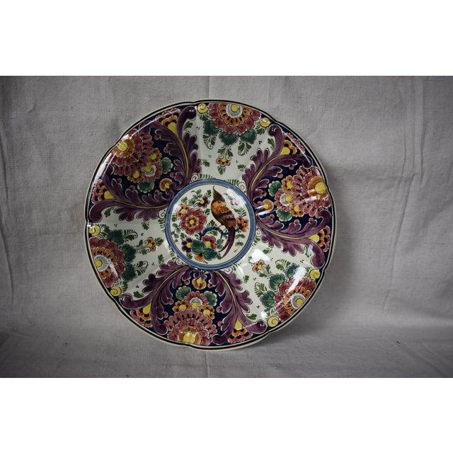 Mid 20th Century Vintage Delft Flower Parrot Large Bowl For Sale - Image 5 of 5