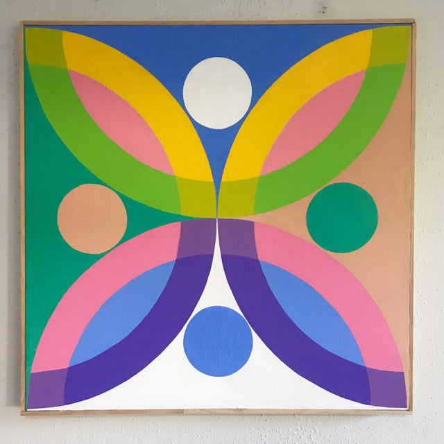 J. Marquis Hard Edge Abstract Framed Canvas Painting For Sale In Portland, OR - Image 6 of 6