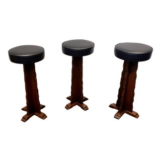 Mid Century Witco Style Counter or Bar Stools Walnut Wood Black Seats - Set of 3 For Sale