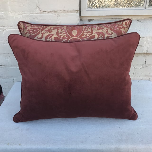 Burgundy & Gold Fortuny Pillows - A Pair - Image 5 of 5