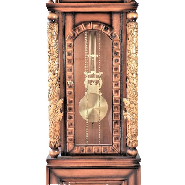 1970s Vintage Chinese Highly Carved Tempus Fugit Grandfather Clock For Sale - Image 11 of 12