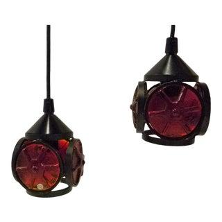 Scandinavian Modern Erik Hoglund Style Pendant Lights by Konst Glashytten Urschult - a Pair For Sale