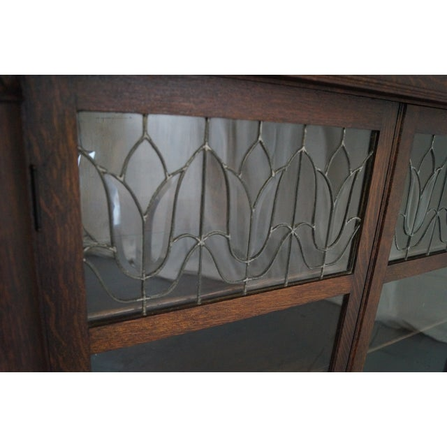 Antique Oak Arts & Crafts Leaded Glass Bookcase - Image 8 of 10