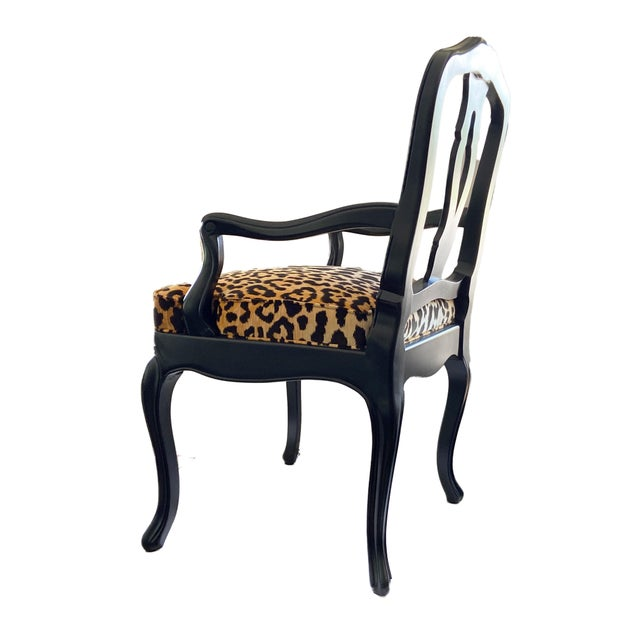 French Black Lacquer Wood Chair W/Animal Print For Sale - Image 4 of 9
