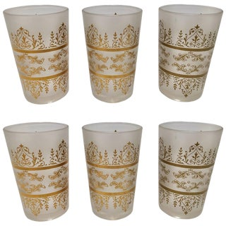 Set of Six Moroccan White Frosted and Gold Glasses For Sale