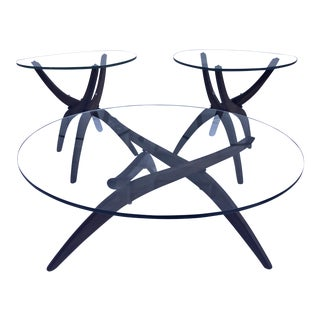 Adrian Pearsall Glass and Walnut Tripod Coffee Table & End Tables - 3 Pc. Set For Sale