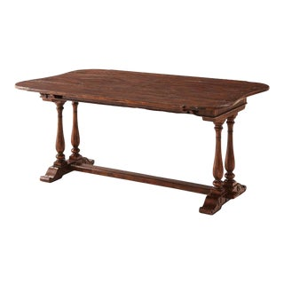Antiqued Wood Drop-Leaf Refectory Dining Table For Sale