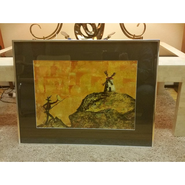 Mid-Century Don Quixote & Windmill Oil Painting - Image 2 of 7