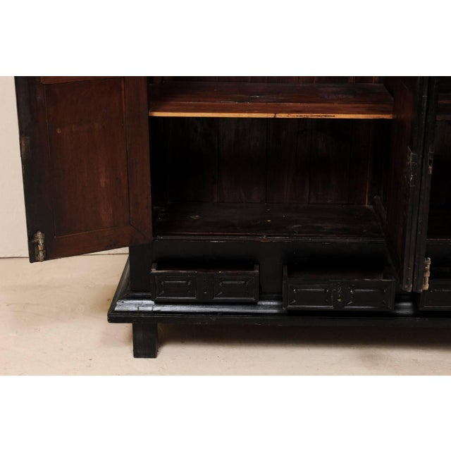 Large British Colonial Cabinet From the Mid-20th Century of Dark Ebonized Wood For Sale - Image 10 of 12