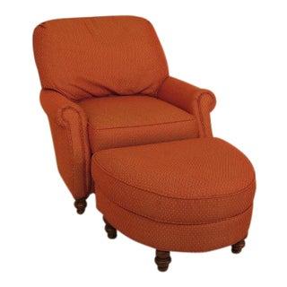 Custom Upholstered Chair & Matching Ottoman - A Pair