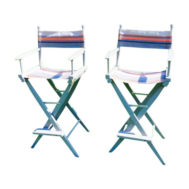 Gray and Orange Striped Director's Chairs - A Pair - Image 2 of 10