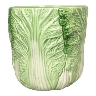 Vintage Cabbage Majolica Jar Vase H&hd 1990 For Sale