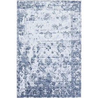 "Vintage Distressed Blue Rug - 5'3"" x 7'3"""