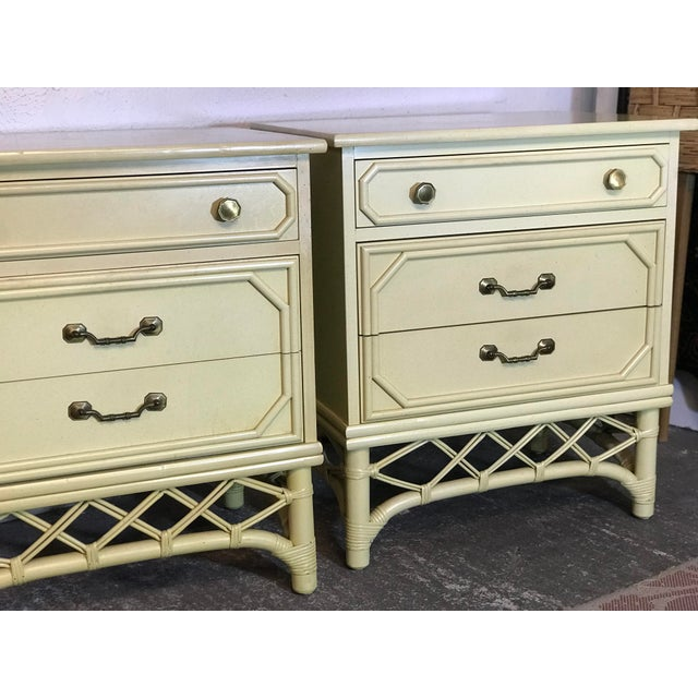 Classic and timeless pair of Vintage Ficks Reed Three Drawer nightstands that always look gorgeous Lacquered and or...