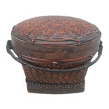 Image of Early 20th Century Antique Lidded Rice Basket For Sale