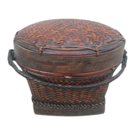 Early 20th Century Antique Lidded Rice Basket For Sale