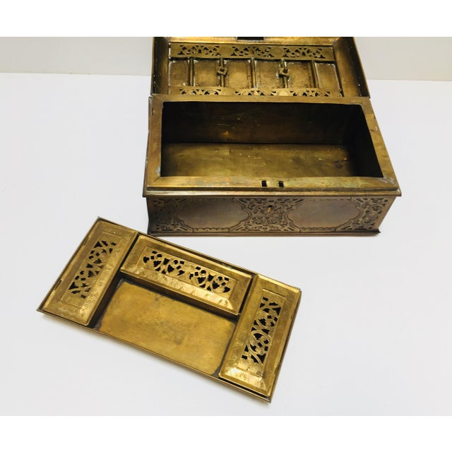 Antique Anglo Indian Georgian Brass Desk Box For Sale - Image 11 of 12
