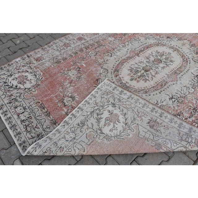 Nomadic Antique Handmade Muted Anatolian Faded Salmon Carpet - 6′9″ × 9′2″ - Image 10 of 10