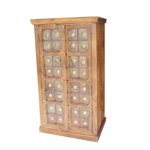 Antique Indian Solid Hand Carved Wood and Iron Clad Armoire For Sale - Image 9 of 9