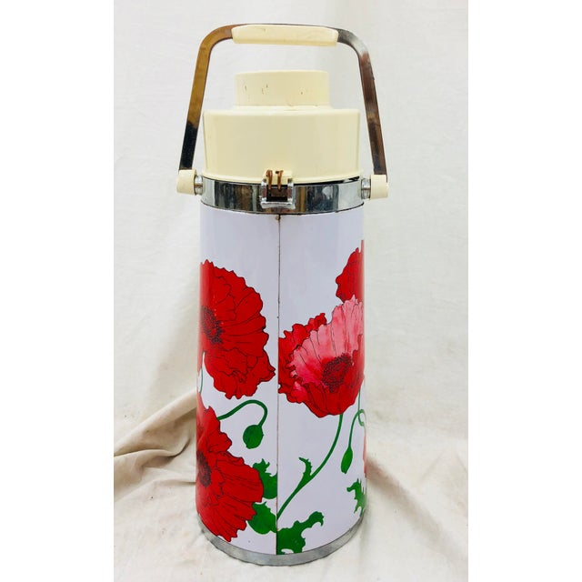 1950s Vintage Red & White Floral Thermos Carafe For Sale - Image 5 of 12