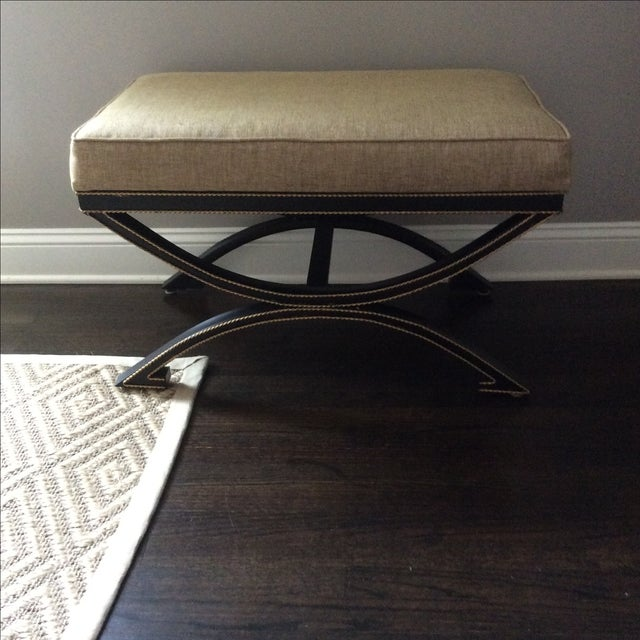 Upholstered Bench With Metal Tole Base - Image 3 of 5