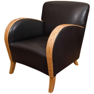 Art Deco Club Chair in Motorcycle Leather For Sale