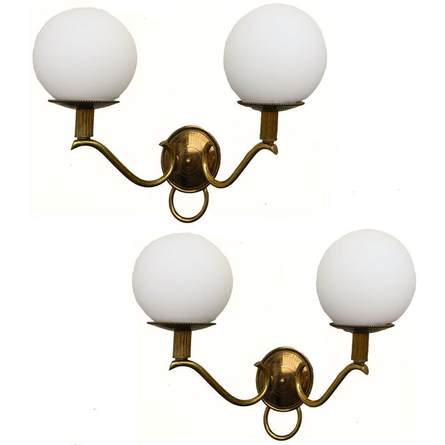 1950s Adnet French Ball Sconces - a Pair - Image 1 of 4