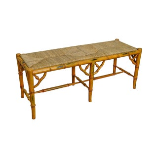 Faux Bamboo Rush Seat Bench For Sale