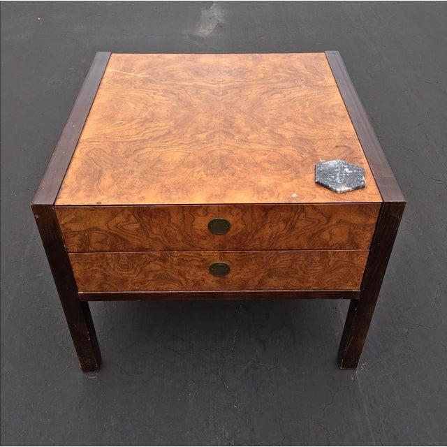 Burl Wood & Mahogany 2 Drawer Side Table - Image 2 of 10