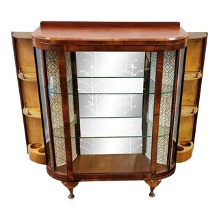 Circa 1930s English Walnut Cocktail Bar Vitrine For Sale