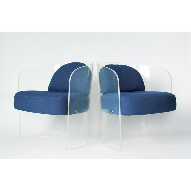 Space Age Lucite Barrel Lounge Chairs - a Pair For Sale - Image 13 of 13
