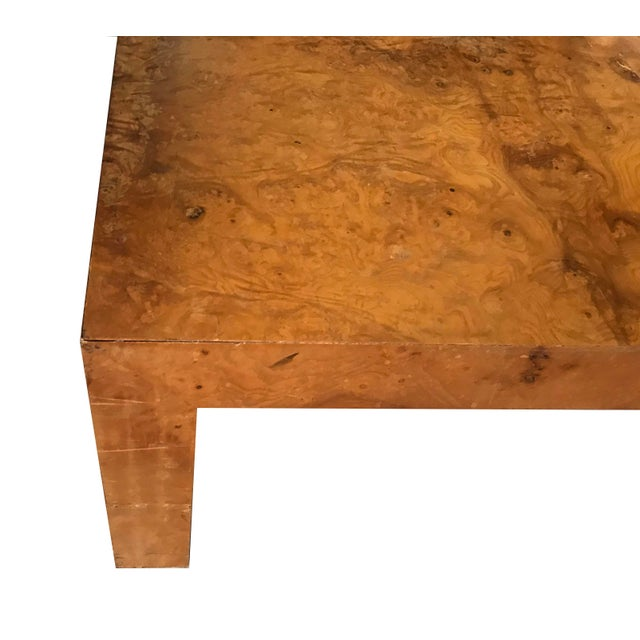 1970s Mid-Century Modern Burl Wood Square Coffee Table For Sale In Minneapolis - Image 6 of 13