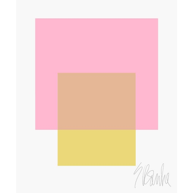 """The Interaction of Light Pink and Celery Green Fine Art Print 45"""" X 55"""" by Liz Roache For Sale"""