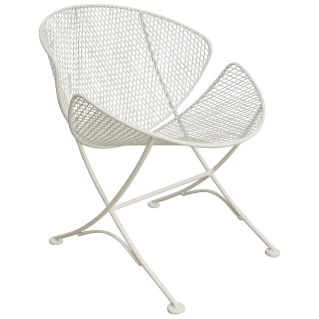"Metal Salterini ""Clamshell"" White Patio Side Chair For Sale - Image 7 of 7"