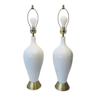 1960s White & Creme Drip Glazed With Stained Brass Bottom Lamps - a Pair For Sale