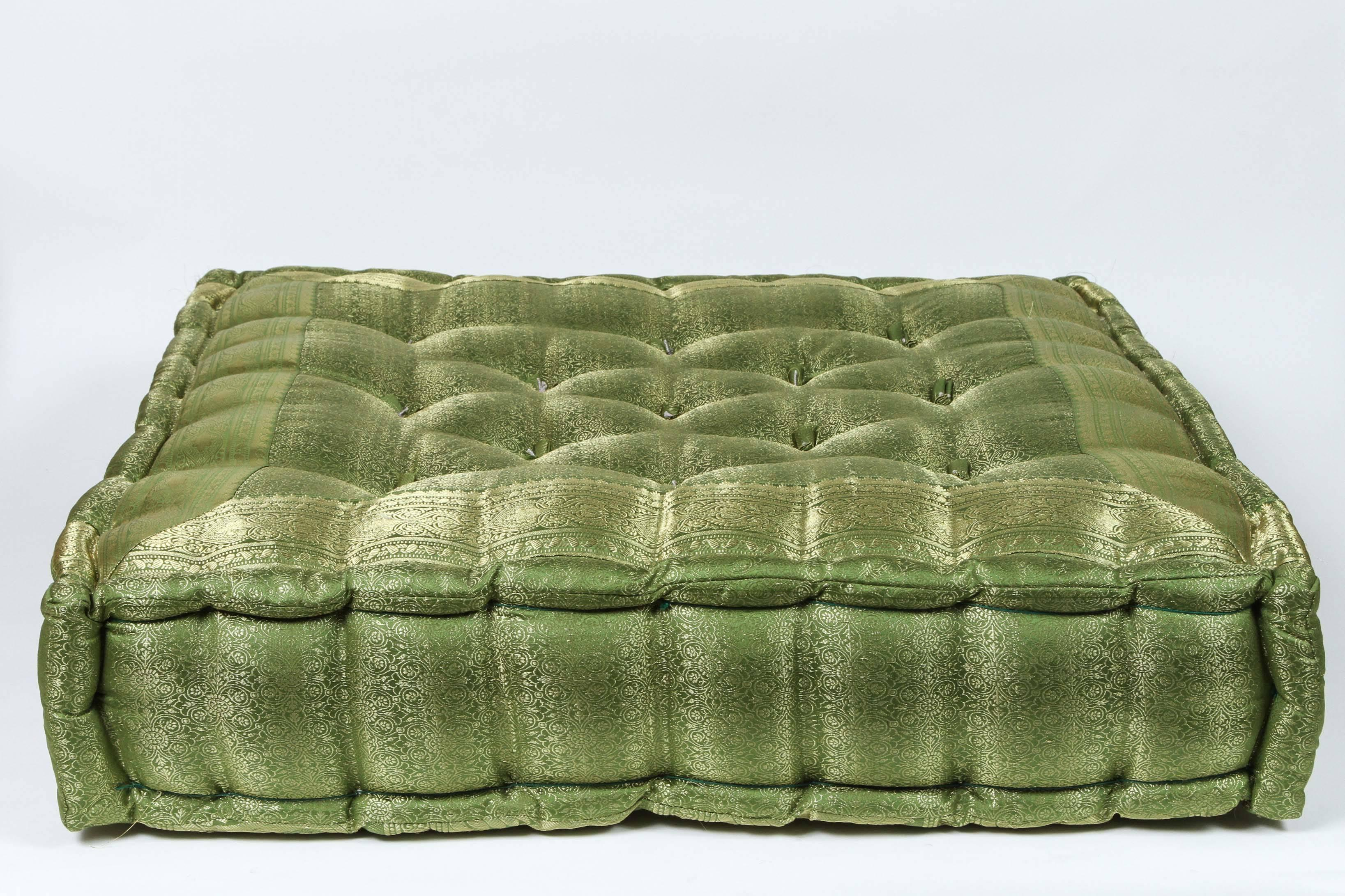 High End Oversized Silk Square Green Tufted Moroccan Floor Pillow