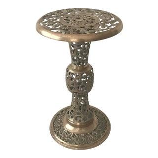 Vintage Mid Century Hollywood Regency Ornate Cast Brass Pedestal End Side Table Plant Stand For Sale