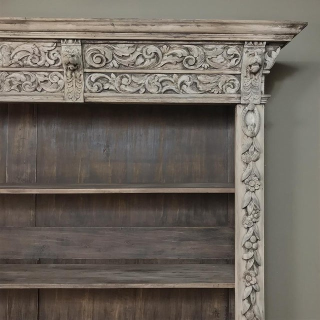 19th Century Grand Hand Carved Stripped Oak English Bookcase For Sale - Image 9 of 12