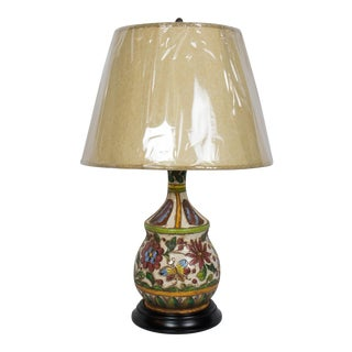 1970s Italian Terra Cotta Flower Design Table Lamp For Sale