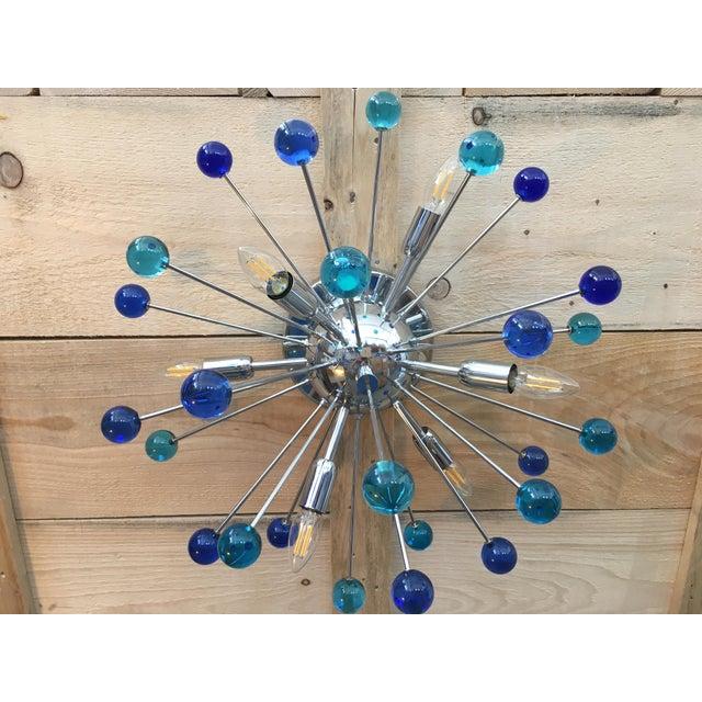 Flush mount Wall sconce murano glass sputnik sea light and drak blue random color blue light and dark blue metal frame in...