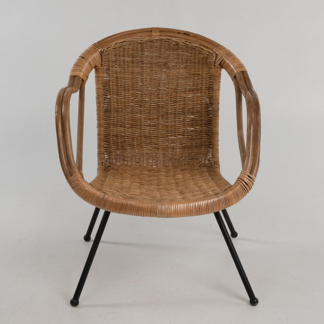 Mid Century Boho Bamboo Rattan Hoop Chair For Sale In Philadelphia - Image 6 of 13