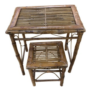 Vintage Asian Bamboo Nesting Tables - Set of 2 For Sale
